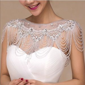 Bolero luxury Short Beading Applique Crystal Wrap
